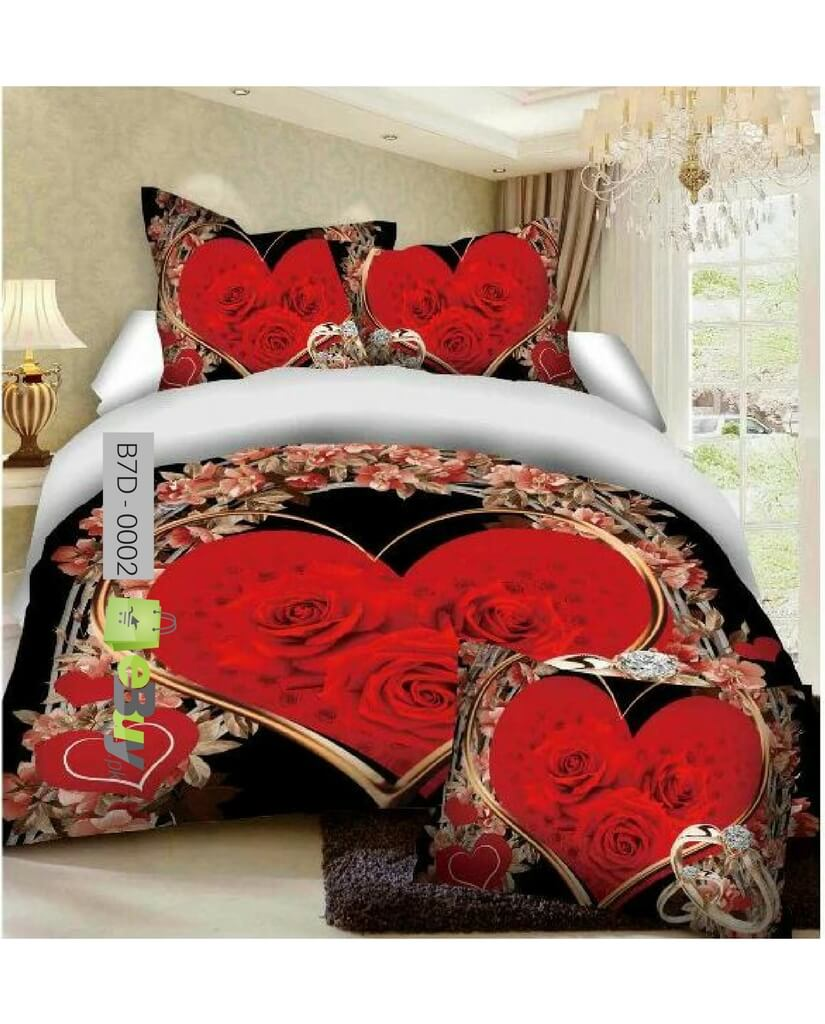 Buy Red Rose Heart Shape 7d Bed Sheets Online In Pakistan Ebuy Pk