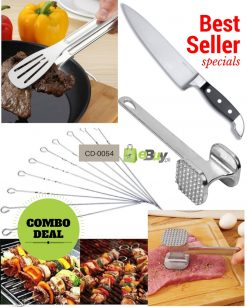 BBQ Skewers, Meat Hammer, Tong & Chef Knife in Pakistan
