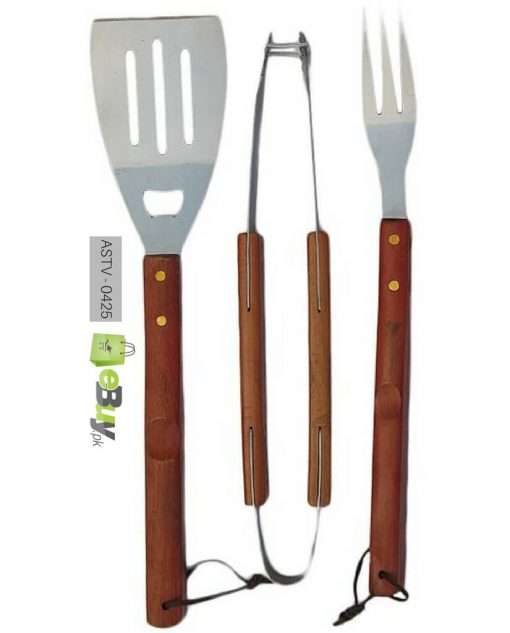 BBQ Tool Set with Wooden Handle - 3pcs Price in Pakistan