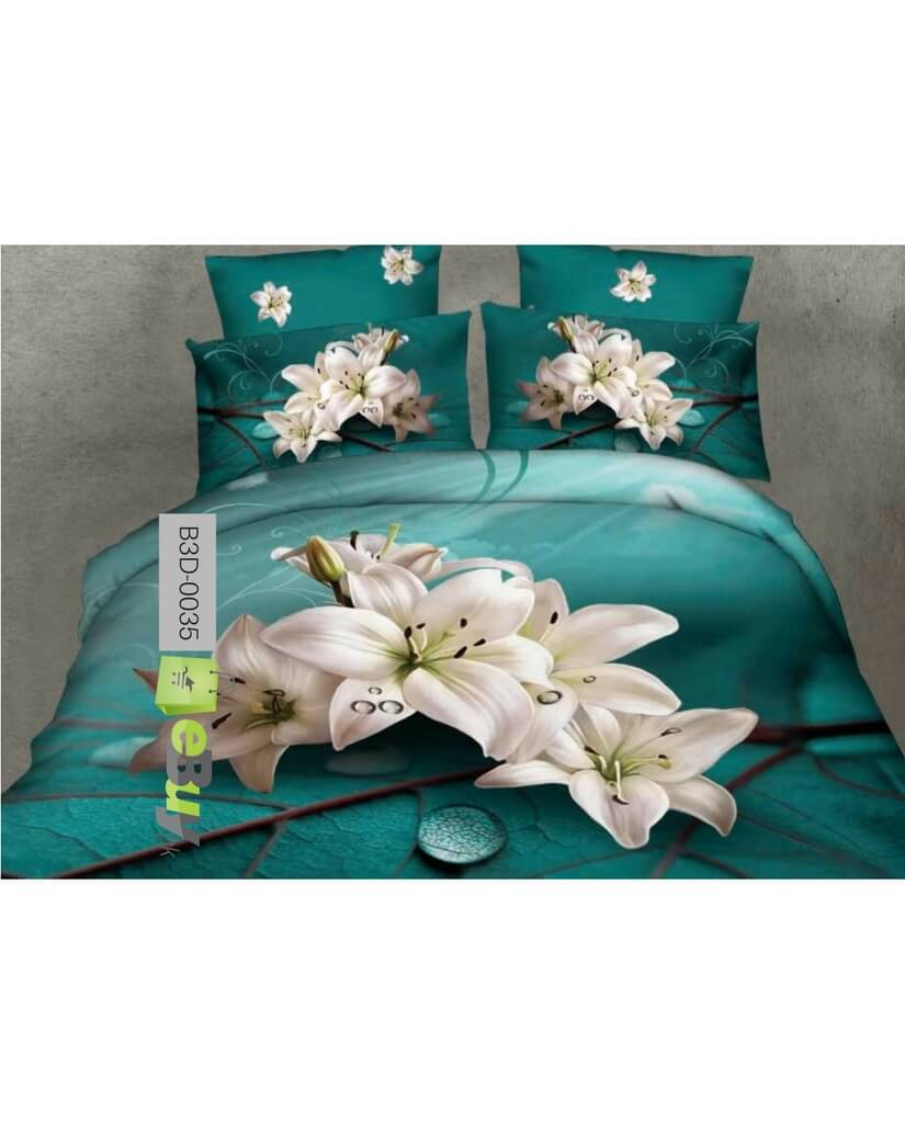 Beautiful Blue Tulip Flowers 3D Bed Sheets Online Price In Pakistan