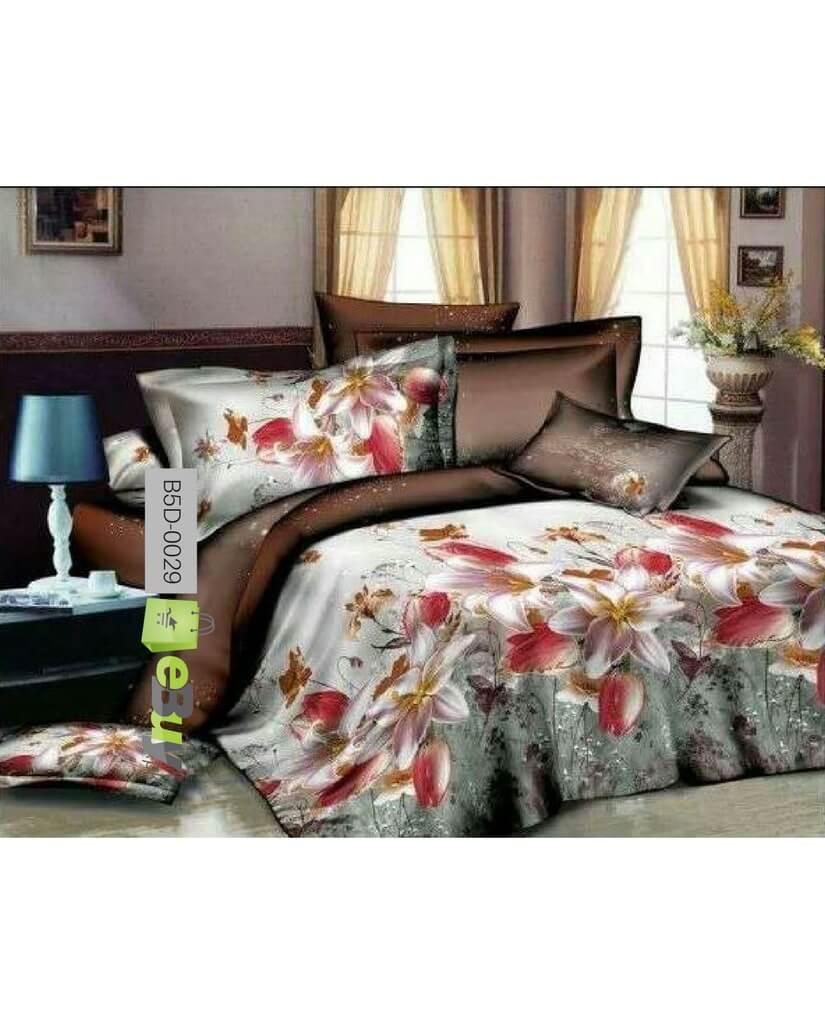 Elegant Beautiful Flowers Printed 5D Bed Sheets Online In Pakistan