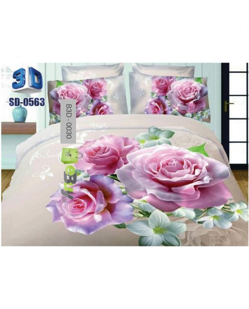 Beautiful Pink Rose Flower 3D Bed Sheets At Best Price In Pakistan