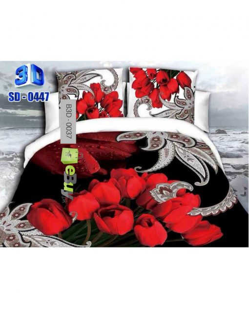 Beautiful Red Dark Rose Flowers 3D Bed Sheets