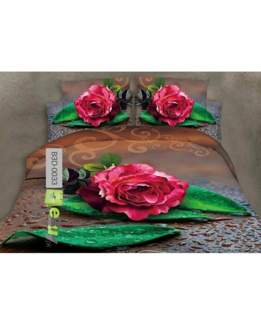 Beautiful Red Flowers 3D Bed Sheets Online Price in Pakistan