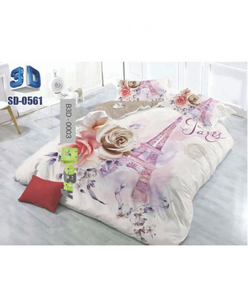 Beautiful Red & Grey Roses 3D Bed Sheet At Best Price In Pakistan