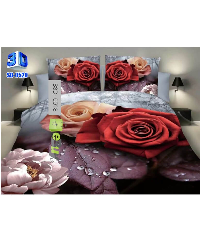 Beautiful Red Roses 3D Bed Sheets At Best Price In Pakistan