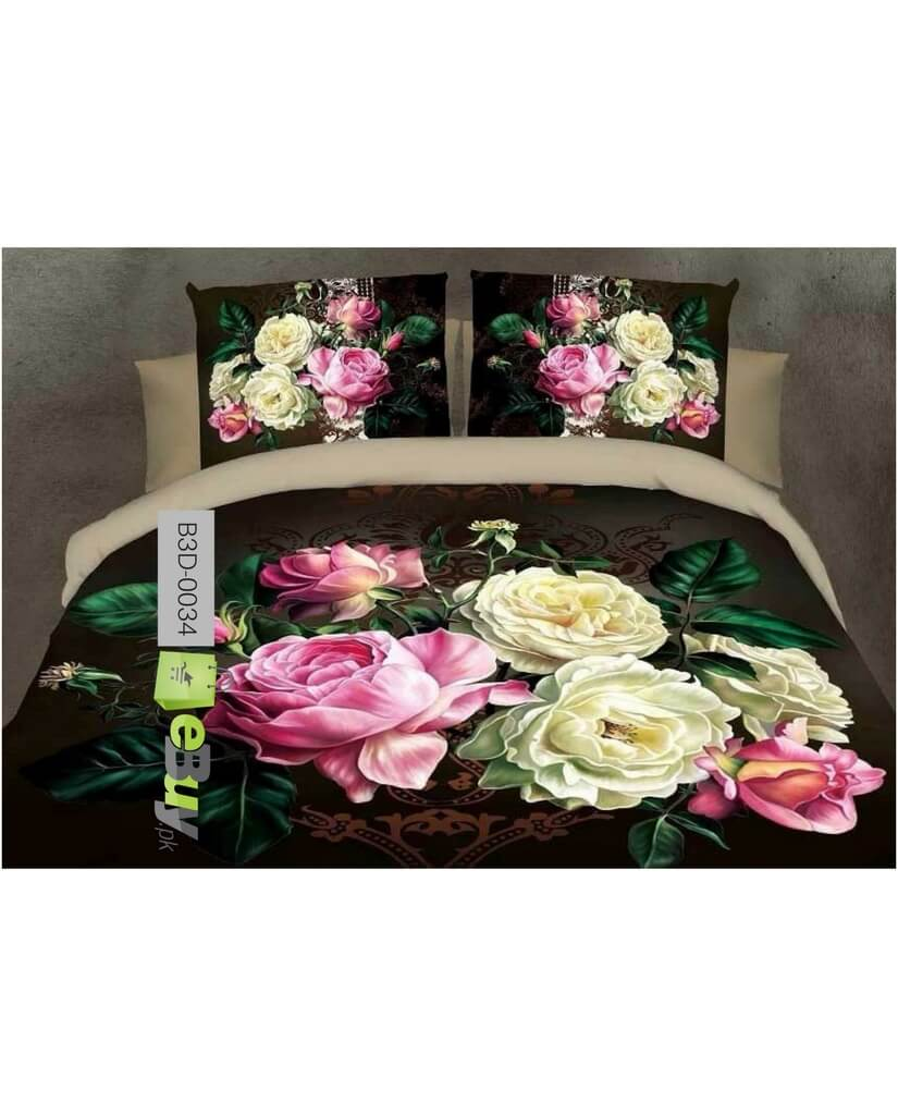 Beautiful Rose Flowers 3D Bed Sheets Online Price In Pakistan