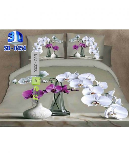 Beautiful White Flower 3D Bed Sheets At Best Price In Pakistan