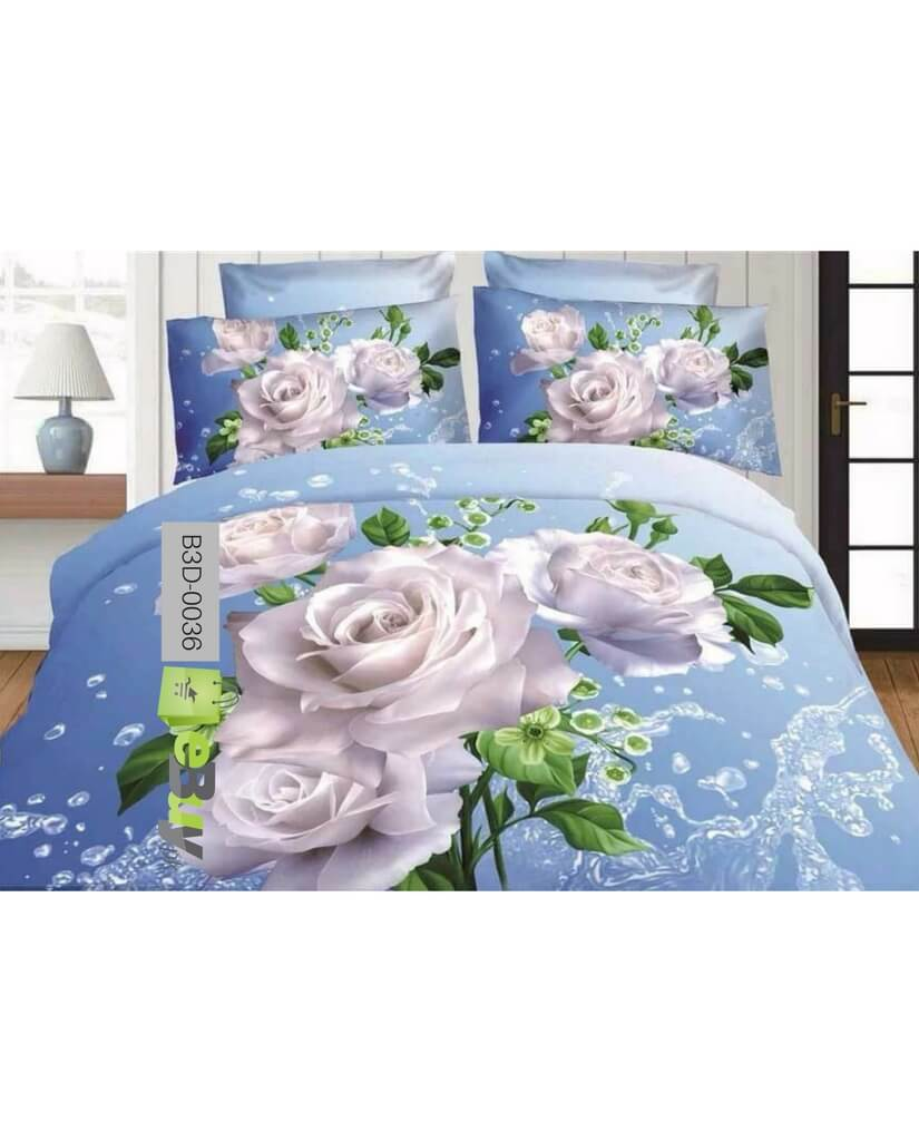 Beautiful White Flowers 3D Bed Sheets Online Price In Pakistan