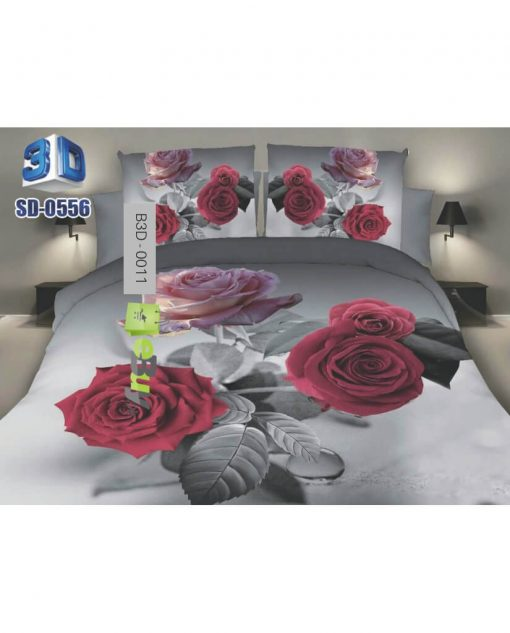 Black & Red Flower Printed 3D Bed Sheets At best Price In Pakistan
