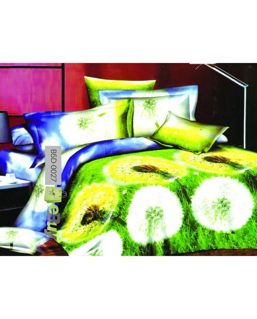 Bright Green U0026 Yellow Color 5D Bed Sheets In Pakistan