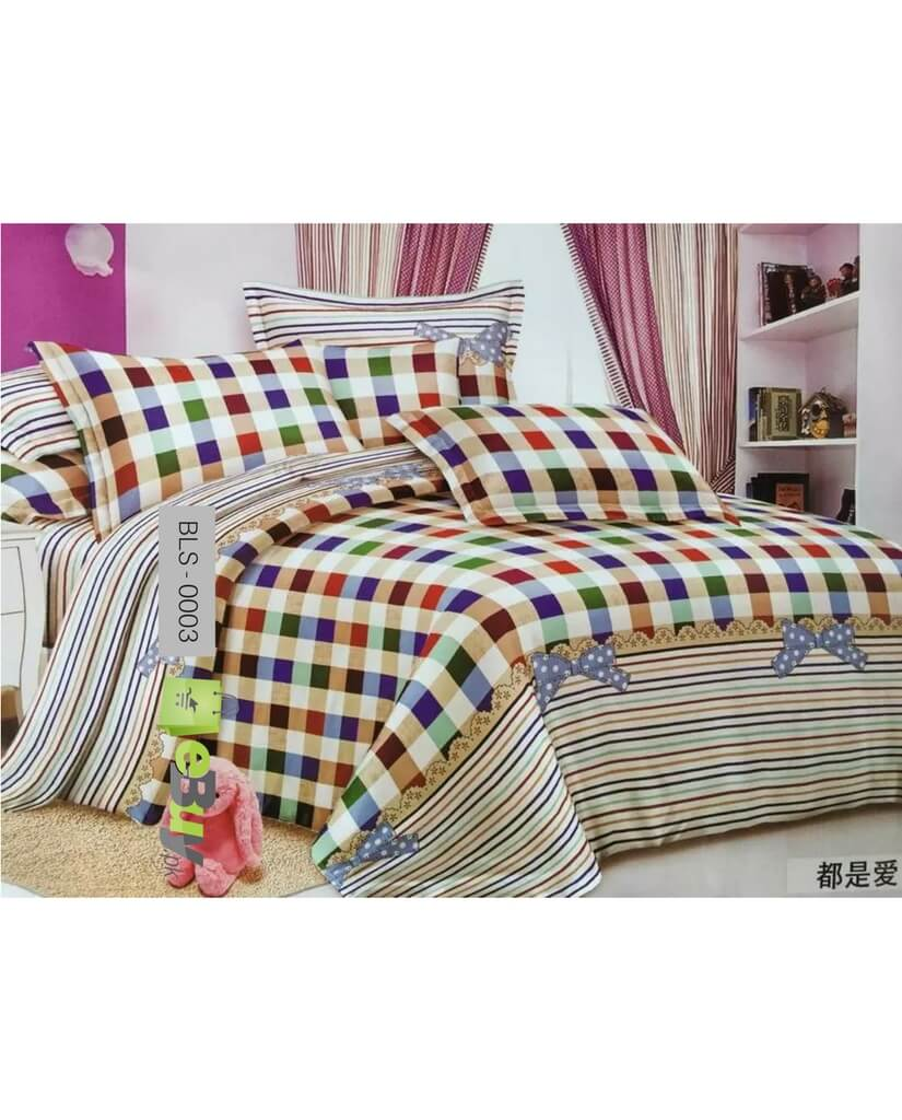 Colorful bed sheets - Colorful Check Design Laser Cotton Bed Sheets In Pakistan
