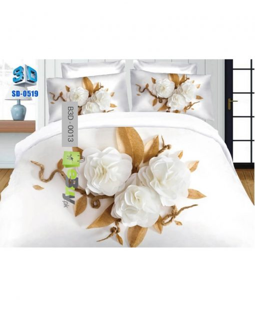 Elegant White Roses Printed 3D Bed Sheets At Best Price In Pakistan