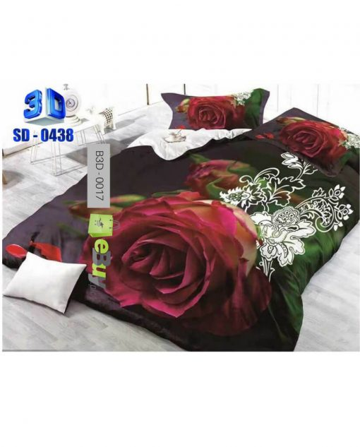 Green & White Flower Design 3D Bed Sheets At Best Price In Pakistan