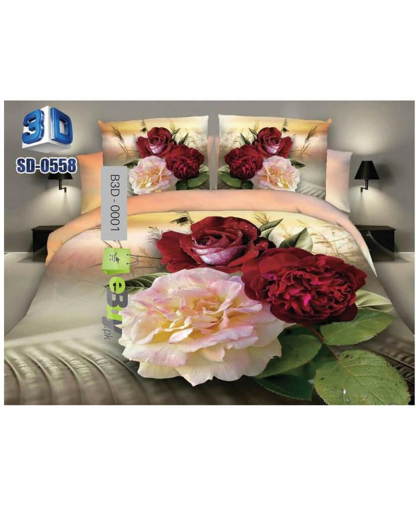 Multi Color Flower 3D Bed Sheet