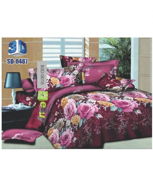 Pink Flower & Butterfly Design 3D Bed Sheets At Best Price In Pakistan