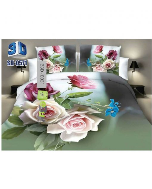 Pink & White Flower Design 3D Bed Sheets At Best Price In Pakistan