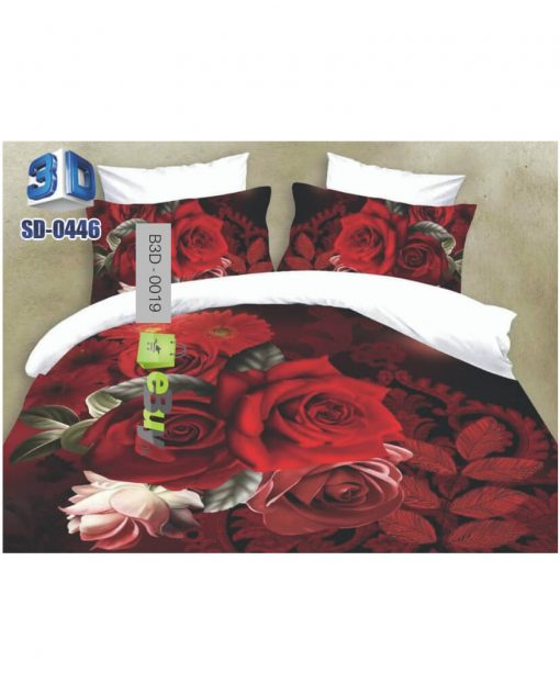 Red Rose Black & White Color 3D Bed Sheets At Best Price In Pakistan