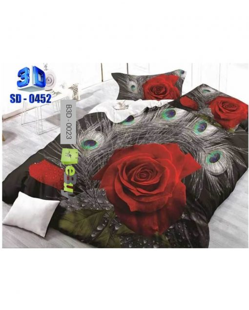 Red Rose Grey Color 3D Bed Sheets At Best Price In Pakistan