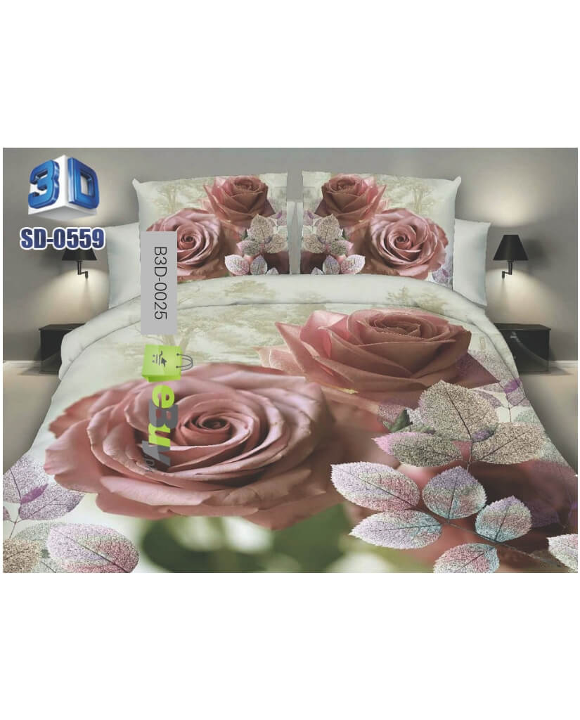 Red Rose Heart Design 3D Bed Sheets