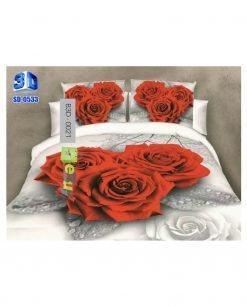 Red & White Rose Flower 3D Bed Sheets At Best Price In Pakistan