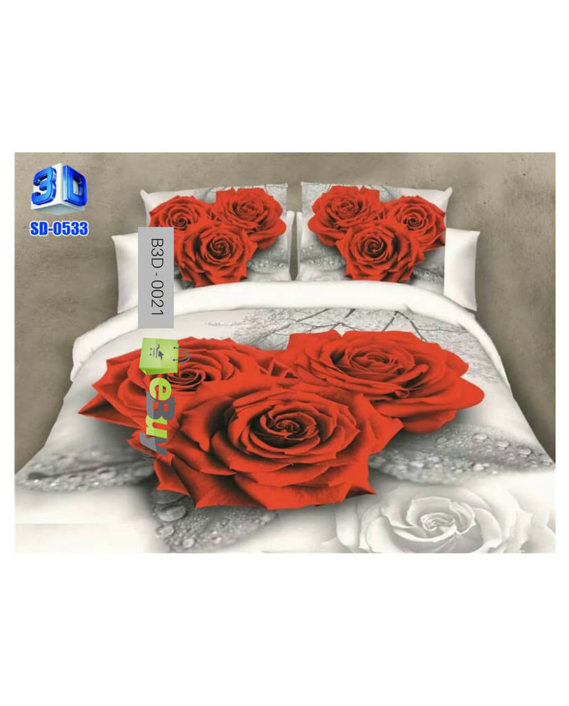 Red U0026 White Rose Flower 3D Bed Sheets At Best Price In Pakistan