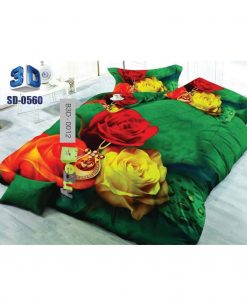 Red & Yellow Flower Black Color 3D Bed Sheets At Best Prics In Pakistan