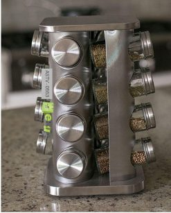 Rotating Stainless Steel Spice Rack Set of 16 Glass Spice Jars At Best Price In Pakistan