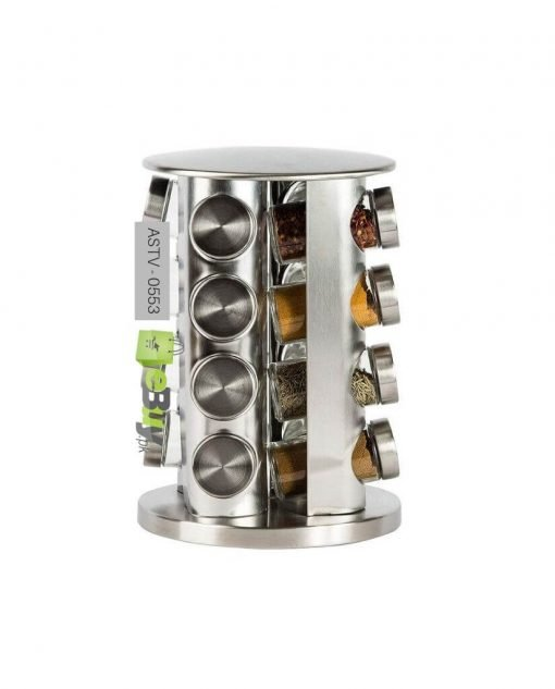 Rotating Stainless Steel Spice Rack Set of 16 Glass Spice Jars At Best Price In Pakistan 5