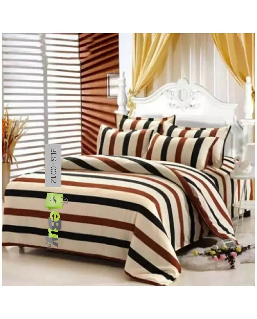 Stripes Printed Laser Cotton Bed Sheets Online In Pakistan