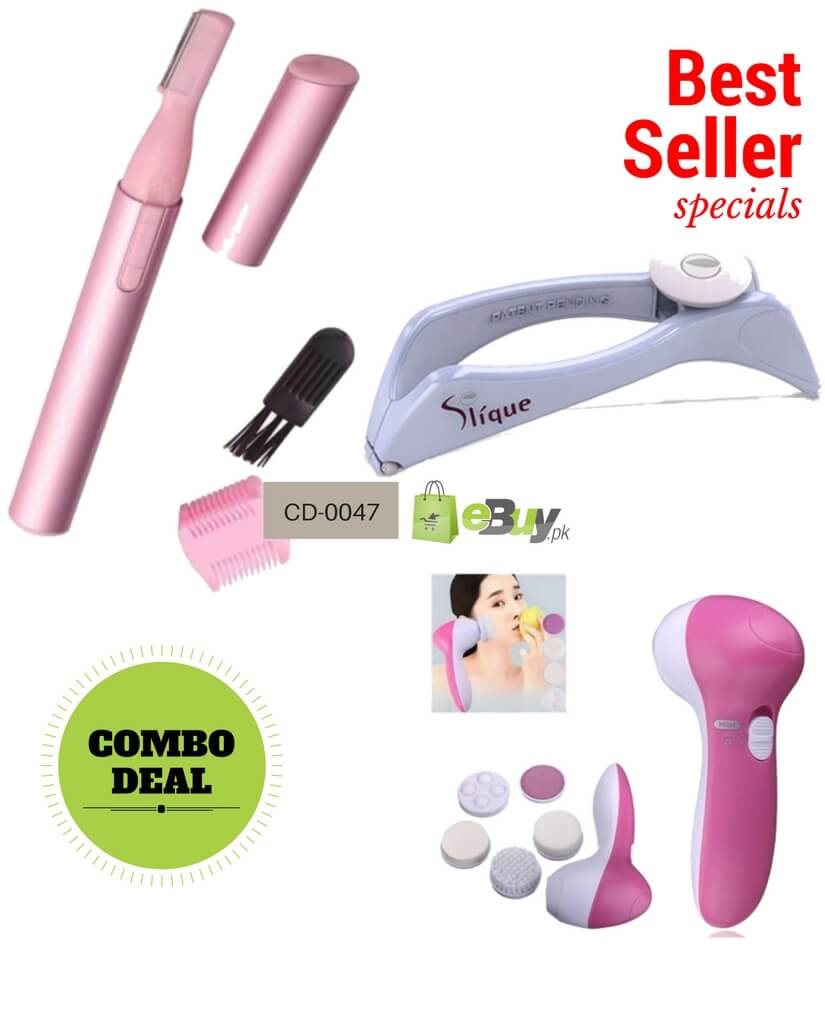 Hair Removal Trimmer Kit, Hair Threading Machine & Facial Cleanser And  Massager