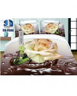 White Flower Dark Grey Color 3D Bed Sheets At Best Price In Pakistan