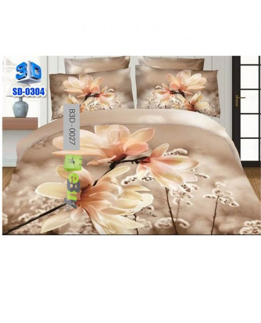 White Jasmine Flower Printed 3D Bed Sheets At Best Price In Pakistan