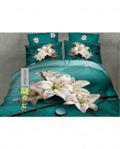 White Lilies Printed 5D Bed Sheets Online in Pakistan