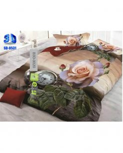 White & Red Flower Design 3D Bed Sheets At Best Price In Pakistan