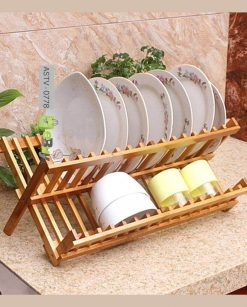 Wooden Bamboo Dish rack Foldable Dish Drainer Price in Pakistan
